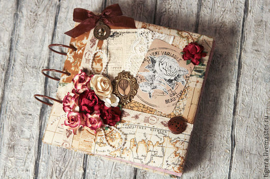 """Фотоальбомы ручной работы. Ярмарка Мастеров - ручная работа. Купить Фотоальбом """"Розы"""" (подарок, для женщины, семейный). Handmade. Бежевый"""