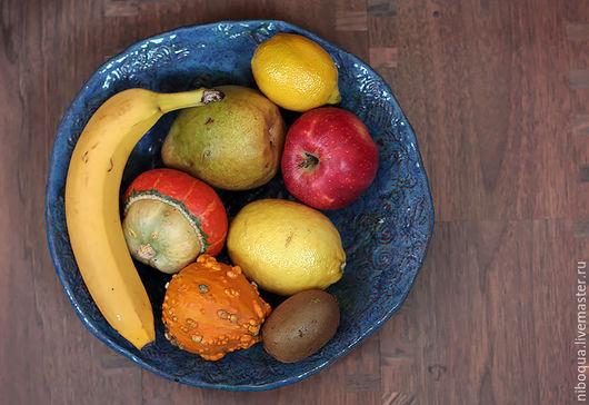 Тарелки ручной работы. Ярмарка Мастеров - ручная работа. Купить Блюдо для фруктов 50 оттенков синего. Handmade. Блюдо для фруктов