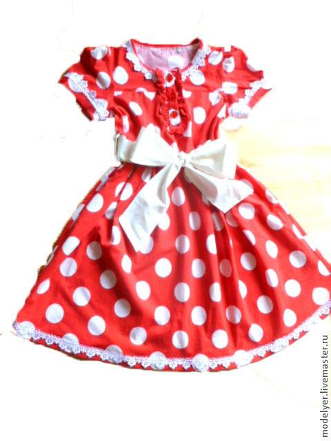 Для подростков, ручной работы. Ярмарка Мастеров - ручная работа. Купить Детское  платье ГОРОХ 122рост. Handmade. Ярко-красный
