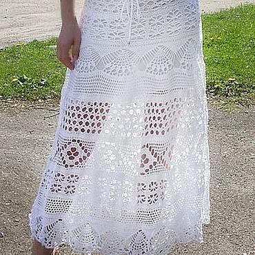 Одежда ручной работы. Ярмарка Мастеров - ручная работа Юбка Кружева в пол белая. Handmade.