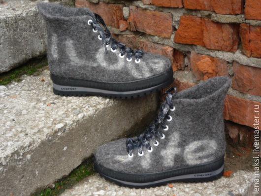 """Обувь ручной работы. Ярмарка Мастеров - ручная работа. Купить Ботинки мужские валяные """" I lov tu lif"""". Handmade."""