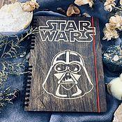 Канцелярские товары handmade. Livemaster - original item Star wars Darth Vader Wooden notebook / Sketchbook. Handmade.