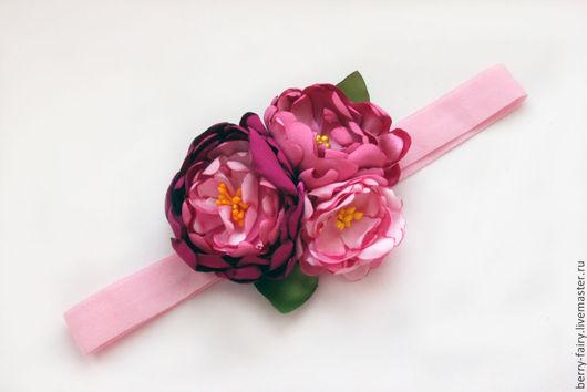 повязка с розовыми цветами