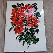 """Картины ручной работы. Ярмарка Мастеров - ручная работа Панно-стекло """"Красные цветы"""". Handmade."""