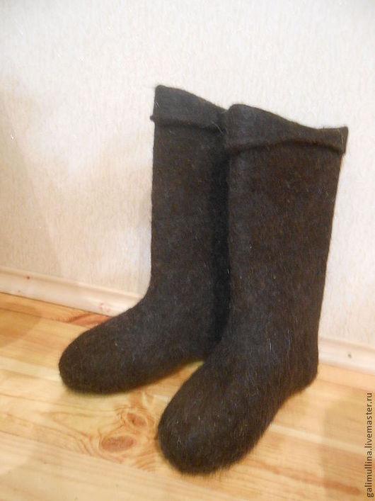 Обувь ручной работы. Ярмарка Мастеров - ручная работа. Купить Мужские некрашенные черные валенки. Handmade. Темно-серый, самовалки