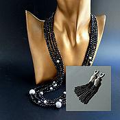 Украшения handmade. Livemaster - original item Necklace black spinele Multi-row Handmade Author`s work. Handmade.