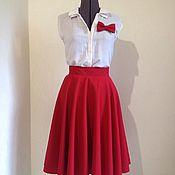 Одежда ручной работы. Ярмарка Мастеров - ручная работа Красная юбка солнце с брошью-бантом или галстуком-бабочкой. Handmade.