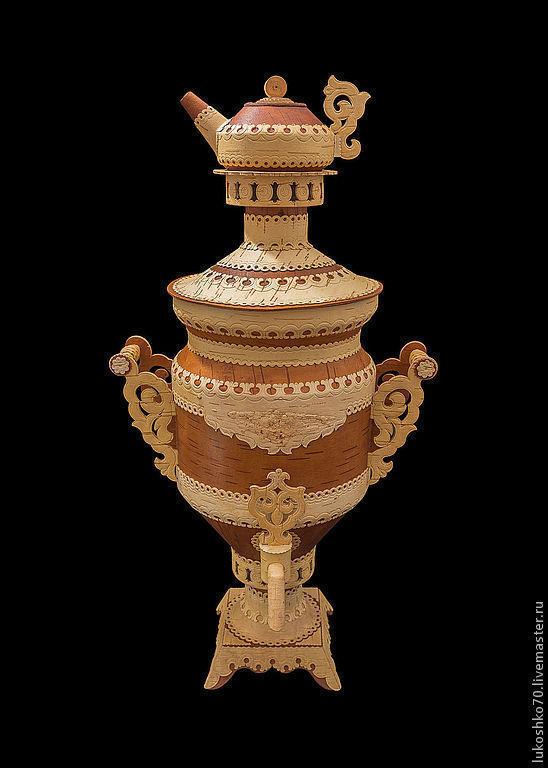 Samovar made of birch bark gift. Birch bark samovar. Expensive souvenir, Figurine, Tomsk,  Фото №1