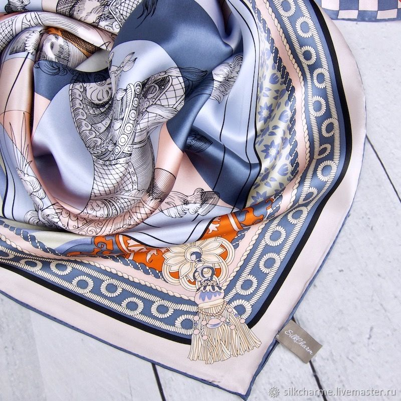 Большой платок из шелка Розово Сиреневый, натуральный шелк, Платки, Москва,  Фото №1