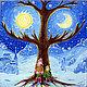 Фантазийные сюжеты ручной работы. Ярмарка Мастеров - ручная работа. Купить Картина Два мира. Handmade. Ночь и день, синий