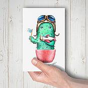 Открытки ручной работы. Ярмарка Мастеров - ручная работа Почтовая открытка - кактус лётчик. Handmade.