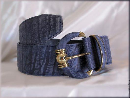 Пояса, ремни ручной работы. Ярмарка Мастеров - ручная работа. Купить Ремень из кожи буйвола. Handmade. Синий, однотонный