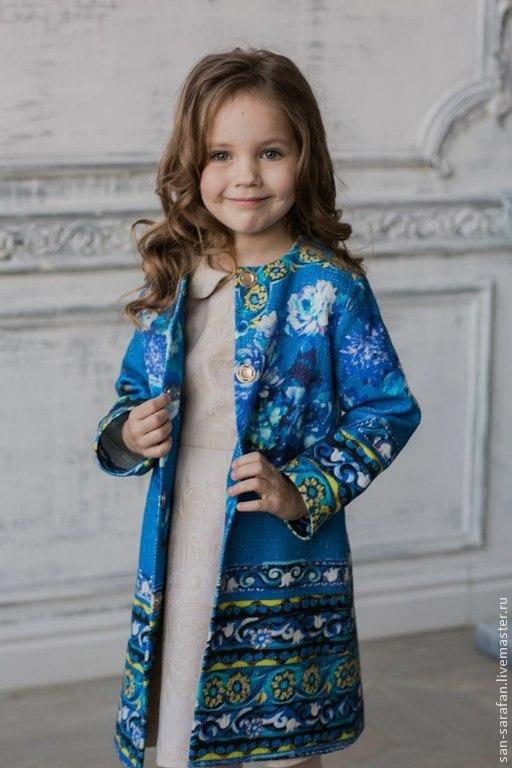 Пальто для девочки ручной работы, качество пошива и обработки класса lux. Модная роскошь по доступной цене.