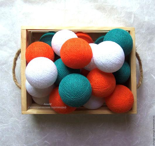 """Освещение ручной работы. Ярмарка Мастеров - ручная работа. Купить Светящаяся гирлянда """"Оранжевый и бирюза"""", шарики, хлопок. Handmade."""