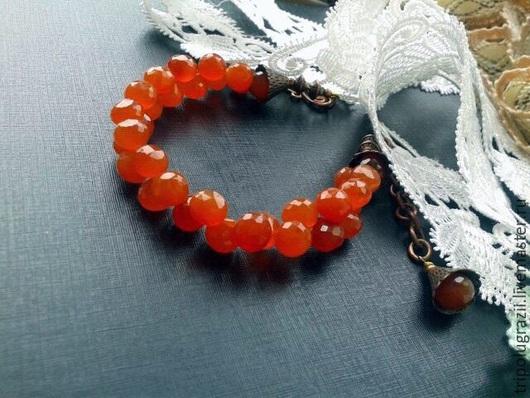 Браслеты ручной работы. Ярмарка Мастеров - ручная работа. Купить Верушкин браслет из сердолика.. Handmade. Рыжий, оранжевый, медь