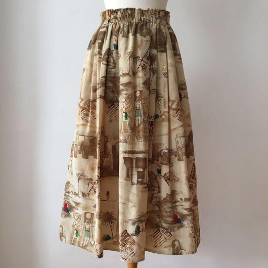 Одежда. Ярмарка Мастеров - ручная работа. Купить Винтажная юбка 1980'х годов с египетским рисунком. Handmade. Египет, винтаж, песочный
