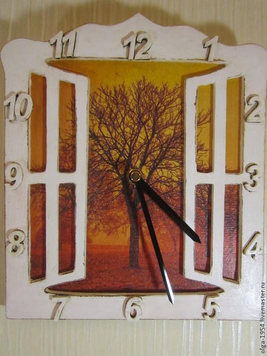 """Часы для дома ручной работы. Ярмарка Мастеров - ручная работа. Купить Часы """"Окно. Осень"""". Handmade. Рыжий, осень, сад"""