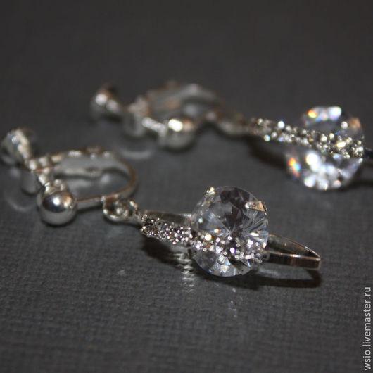 Клипсы (серьги) с ювелирным стеклом `Наваждение` Подарок девушке.Клипсы свадебные.Клипсы серьги для невесты.Свадебные украшения для невесты.