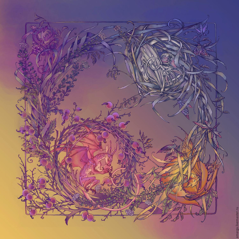 """Шелковый платок """"Дети травы"""" авторский принт на шелке, Шали палантины, Варна, Фото №1"""
