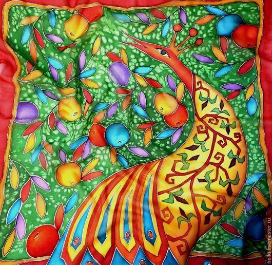 Шали, палантины ручной работы. Ярмарка Мастеров - ручная работа. Купить Платок Райские яблоки. Handmade. Батик, сад