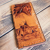 Сумки и аксессуары handmade. Livemaster - original item Leather wallet with embossed and pyrography