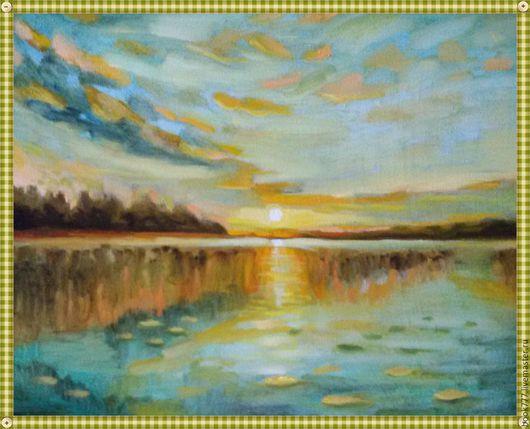 Пейзаж ручной работы. Ярмарка Мастеров - ручная работа. Купить Раскрасив небо яркими мазками ( х. м ). Handmade.
