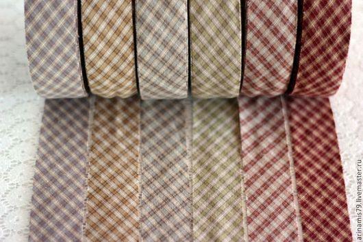 Шитье ручной работы. Ярмарка Мастеров - ручная работа. Купить Косая бейка из японского фактурного хлопка. 6 видов в клеточку.. Handmade.