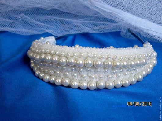 Свадебные украшения ручной работы. Ярмарка Мастеров - ручная работа. Купить свадебная тиара. Handmade. Белый, корона для невесты