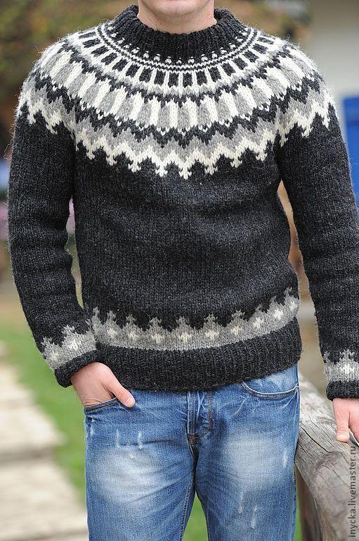 Для мужчин, ручной работы. Ярмарка Мастеров - ручная работа. Купить Мужской свитер МС1. Handmade. Чёрно-белый