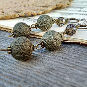 Украшения handmade. Livemaster - original item Earrings Textile Glomeruli Long Light Gray Green Bronze Boho. Handmade.