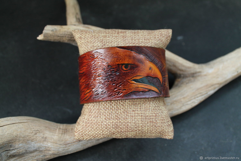 Leather bracelet, embossed, eagle, handmade, Hard bracelet, Voronezh,  Фото №1