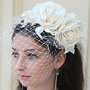 Свадебный салон ручной работы. Ярмарка Мастеров - ручная работа Свадебная шляпка с вуалью. Handmade.