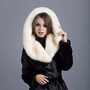 Одежда handmade. Livemaster - original item Coat a black mink hooded under Fox. Handmade.