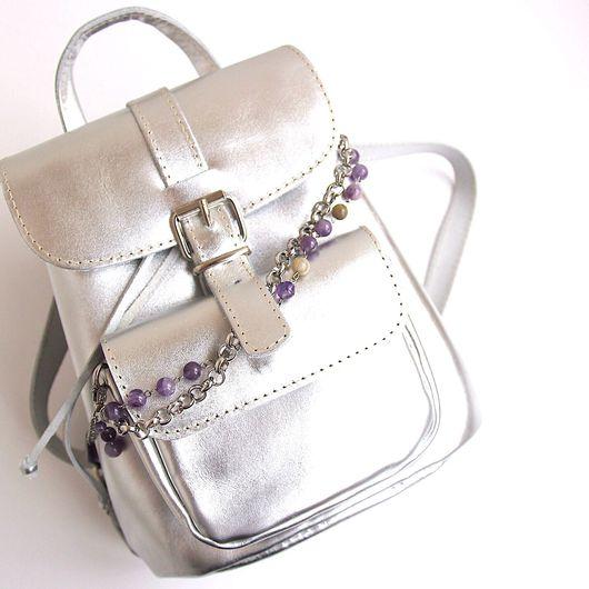Рюкзаки ручной работы. Ярмарка Мастеров - ручная работа. Купить Рюкзак из кожи KALYMNOS (Silver). Handmade. Рюкзак, рюкзак из кожи