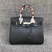 Сумки и аксессуары handmade. Livemaster - original item Women`s handbag, crocodile leather, matte surface, black color.. Handmade.