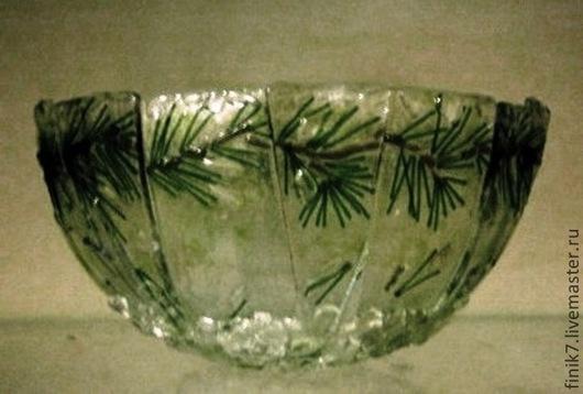 """Салатники ручной работы. Ярмарка Мастеров - ручная работа. Купить Фьюзинг. Салатник """"Зима"""". Handmade. Зеленый, посуда, декоративная посуда"""