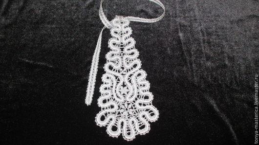 Галстуки, бабочки ручной работы. Ярмарка Мастеров - ручная работа. Купить Коклюшечное кружево кружевной галстук ручной работы. Handmade.