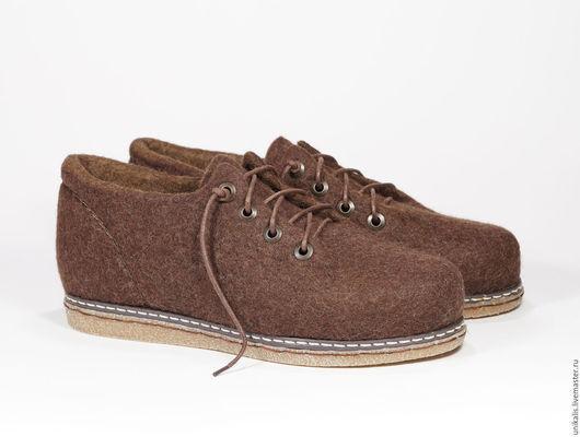 """Обувь ручной работы. Ярмарка Мастеров - ручная работа. Купить Валяные туфли для города или офиса """"Брауни"""".. Handmade. Коричневый"""