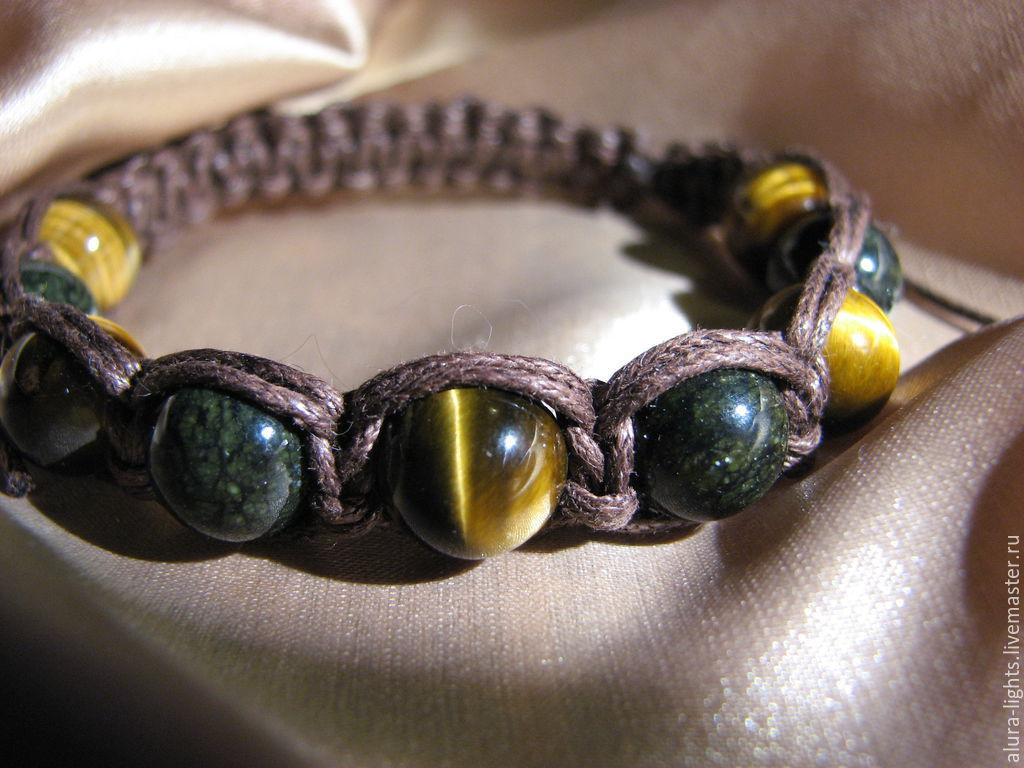 Shamballa bracelet with tiger's eye and serpentine 'Masculinity', Bead bracelet, Moscow,  Фото №1