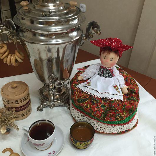 Кухня ручной работы. Ярмарка Мастеров - ручная работа. Купить Баба на чайник. Handmade. Ярко-красный, лён