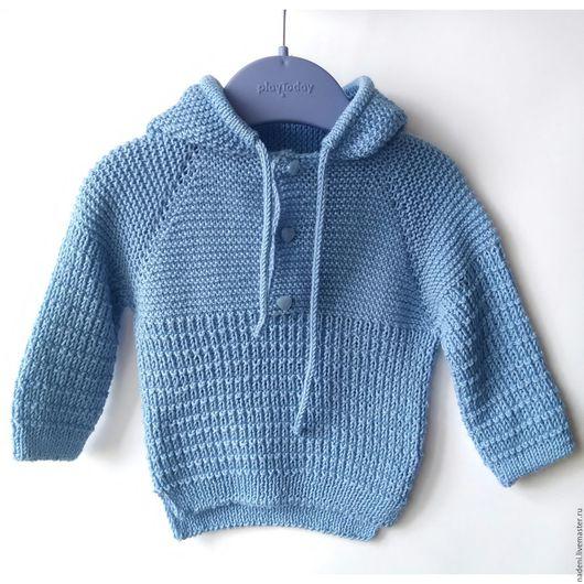 """Одежда для мальчиков, ручной работы. Ярмарка Мастеров - ручная работа. Купить Джемпер вязаный на мальчика """"худи"""". Handmade. Голубой"""
