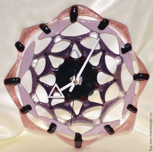 Часы для дома ручной работы. Ярмарка Мастеров - ручная работа. Купить Ажур Фьюзинг. Handmade. Тёмно-фиолетовый, часы фьюзинг