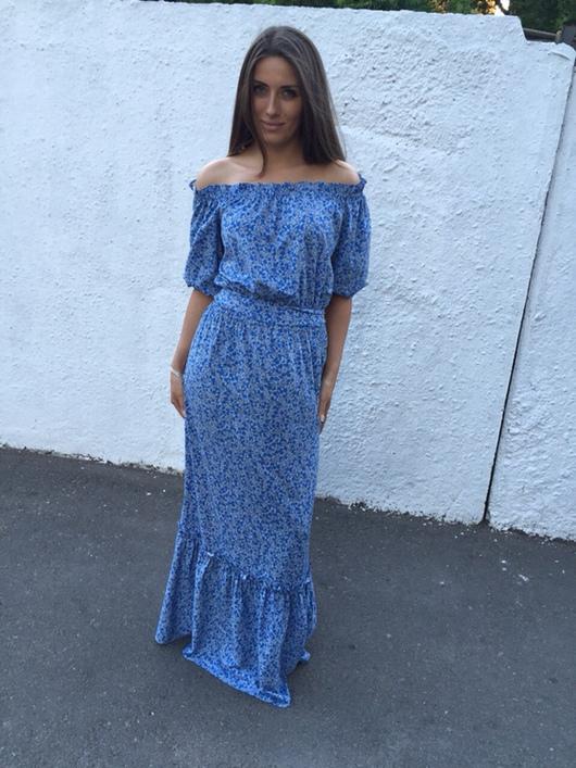 Платье-крестьянка синее в пол из хлопка от AMODAY