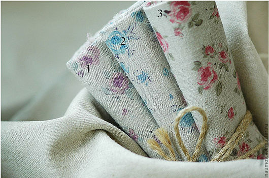 Шитье ручной работы. Ярмарка Мастеров - ручная работа. Купить Ткань Лён с рисунком розочки. Handmade. Ткань, ткань для пэчворка