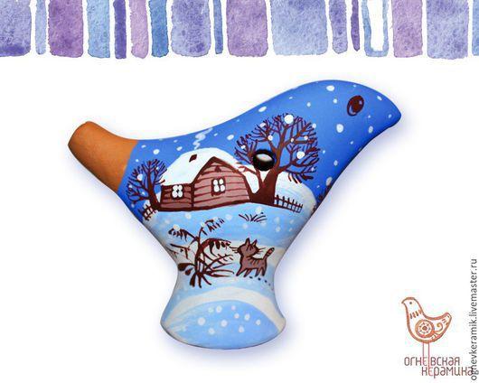 """Персональные подарки ручной работы. Ярмарка Мастеров - ручная работа. Купить Свистулька """"Зима"""". Handmade. Синий, свитсулька"""