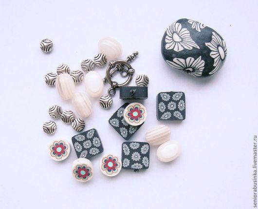 """Для украшений ручной работы. Ярмарка Мастеров - ручная работа. Купить Набор бусин """"Черно-белые цветы"""". Handmade."""