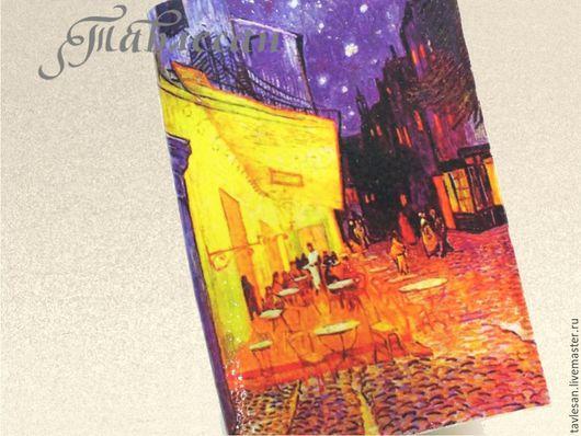 """Обложки ручной работы. Ярмарка Мастеров - ручная работа. Купить Обложка для паспорта """"Ночная терраса кафе. Ван Гог""""  кожа. Handmade."""