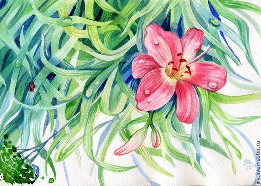 """Картины цветов ручной работы. Ярмарка Мастеров - ручная работа. Купить Картина """"Дождь прошёл"""". Handmade. Дождь, дождик, лето"""