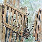 Картины и панно ручной работы. Ярмарка Мастеров - ручная работа Заброшенная деревянная калитка Акварельная картина Летнее настроение. Handmade.