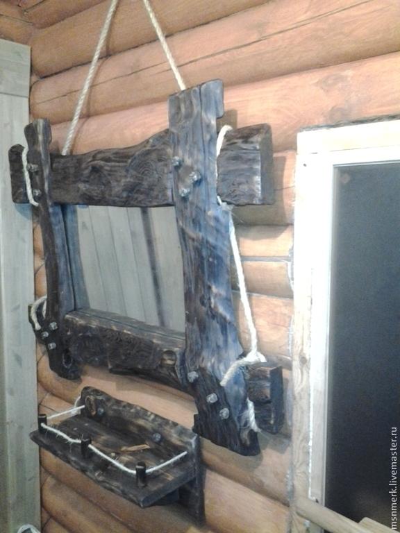 зеркало в рустикальном стиле из состаренного массива сосны
